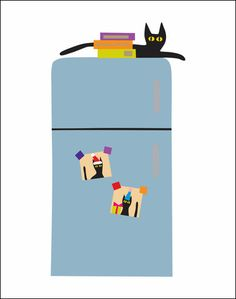 "My new ""Cat on Fridge"" 11 X 14 print.  Also inspired by Monsieur Peanut."