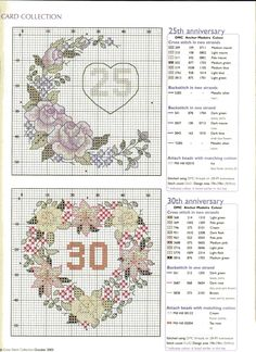 25th and 30th wedding anniversary charts