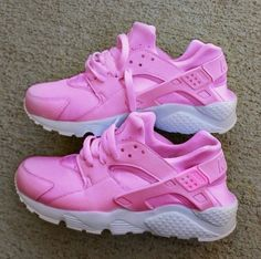 Nike Air Huarache Hot Pink with white sole custom. by JKLcustoms on Etsy www.etsy.com/...