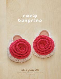 Crochet Pattern  Rosie Ballerina Baby Booties Rose por meinuxing