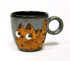 Mug Coffee mug coffee cup ceramics and pottery by MMceramicdesign Cat Coffee Mug, Coffee Cups, Funny Cups, Pottery Animals, Animal Mugs, Clay Mugs, Etsy Crafts, Last Minute Gifts, Handmade Art