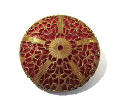 Learn more about >> RED Bakelite Button VINTAGE Bakelite Button Pink with Brass Filigree Cowl BAKELITE Button Classic Button Jewellery Provides (G62)