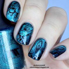Floral Nail Designs for Spring In 2019 - T Nail Art Designs, Nail Designs Spring, Nail Polish Designs, Nagel Stamping, Stamping Nail Art, Gel Nail Art, Nail Stamping Designs, Beautiful Nail Designs, Beautiful Nail Art