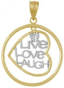 Amazon.com: 14k Gold Necklace Charm Pendant, Live Love Laugh In Heart Dangling In Round Fram: Million Charms: Jewelry