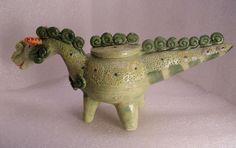 Green Dragon Folk Pot – Animal Face Jug – Spice Jar – Effigy Jar | eBay