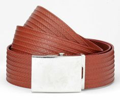 """From eco-artware.com, Firehose Unisex Belt made from genuine decommissioned British fire hose. Each one is unique, featuring the markings of the decommissioned hose used to create the belt. Handsome pewter slider buckle is recycled from British taps and pipes. Belt fits loops 1-1/2"""" and larger."""