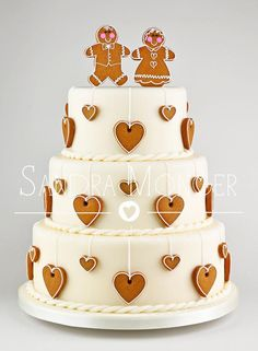 Gingerbread Bride and Groom Hearts Wedding Cake