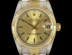 Rolex Datejust Mid-Size Stainless Steel & Yellow Gold Champagne Baton Dial B&P 68273 Gold Champagne, Oyster Perpetual Datejust, Rolex Datejust, Gold Watch, Stainless Steel, Watches, Yellow, Accessories, Clocks