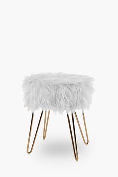 Atomic Faux Fur Stool - Shop New In - Furniture - Shop Upholstered Furniture, Upholstered Dining Chairs, Faux Fur Stool, Modern Furniture, Ottomans, Cubes, Shopping, Living Room, Fabric Dining Chairs