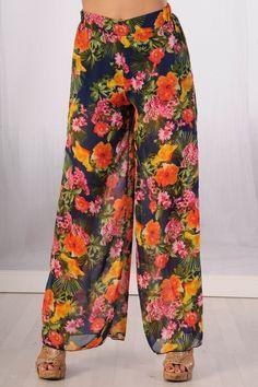 BLUE FLORAL PRINT CHIFFON SHEER WIDE LEG THICK ELASTIC BAND PANTS $26.99 Chiffon Pants, Chicken Marsala, Print Chiffon, Parachute Pants, Wide Leg, Harem Pants, Floral Prints, Legs, Band