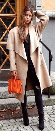 #fall #fashion / camel coat + ripped jeans
