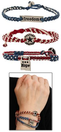 Courage, Hope, & Freedom Woven Bracelets - Set of 3 at The Veterans Site
