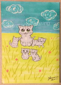 """#ACEO TW Apr Original #Cat #Kitten #Baby """"Mama #Kitty & Happy Babies"""" drawing #Miniature"""