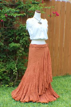 Terracotta orange tiered crinkle wrap skirt with crochet waist