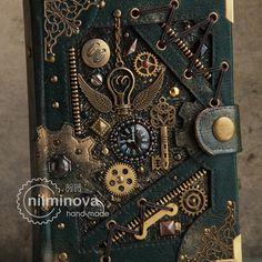 Diario de blanco diario cuaderno A6 de Steampunk por las