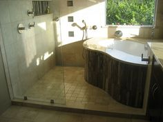 soaking tub inside shower. Very cool idea. I wonder if we have room for this...