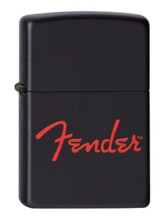 """Zippo Pocket Lighter Fender Lighter, Black Matte. Genuine Zippo windproof lighter with distinctive Zippo """"click"""". All metal construction; windproof design works virtually anywhere. Refillable for a lifetime of use; for optimum performance use genuine Zippo premium lighter fluid, flints and wicks. Made in USA; lifetime guarantee that """"it works or we fix it fret"""". Fuel: Zippo premium lighter fluid (sold separately)."""