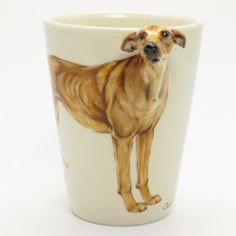 Greyhound Mug 00004 Dog Lover Ceramic Mug Coffee Cup Decor | madamepomm - Ceramics & Pottery on ArtFire