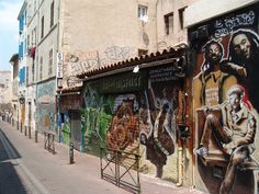 Colourful street art in the Cours Julien district, Marseille.