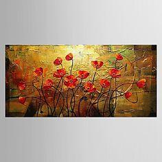 pintura a óleo floral flores desabrochando com esticada conjunto de quadros de 3 telas pintadas à mão 1308-fl0733 de 2016 por R$339.05