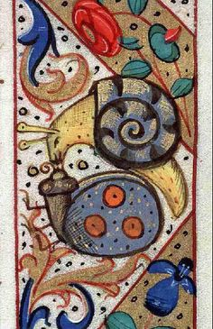 Snail love in the margins of an illuminated medieval manuscript. Bibliothèque municipale de Lyon, Ms detail of f. Book of Hours, use of Chalon. Medieval Manuscript, Medieval Art, Renaissance Art, Illuminated Letters, Illuminated Manuscript, Illustrations Vintage, Illumination Art, Book Of Kells, Book Of Hours