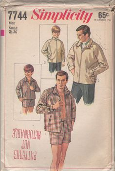 Simplicity 7744 1960s  Mens Swim Shorts and Jacket pattern by mbchills vintage sewing pattern