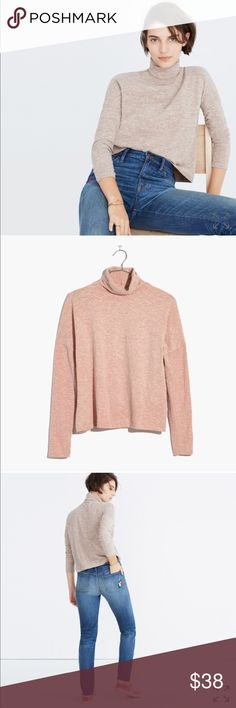 Madewell Boxy turtleneck top, NWT New with tags.   Size: XS  Color: antique coral- very light pink  ***Model is wearing a different color. Color for this listing is the second photo. Will update with actual photos. Madewell Tops