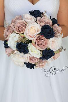 Navy Bouquet, Bridal Bouquet Pink, Bride Bouquets, Diy Wedding Bouquet, Blush Bridal, White Bridal, Fake Wedding Flowers, Wedding Flower Arrangements, Bridal Flowers