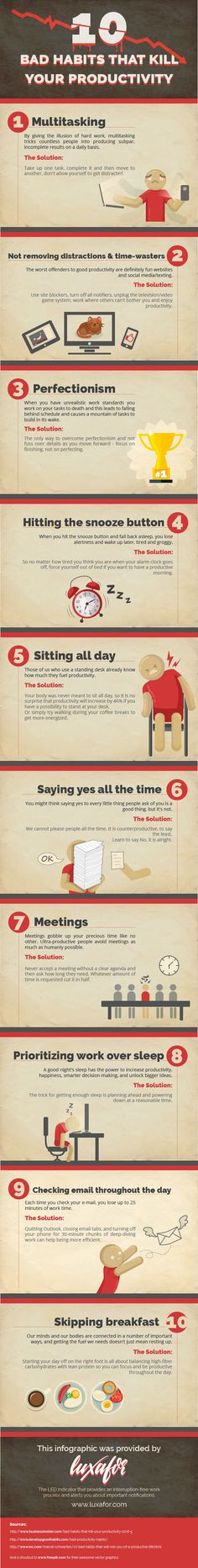 Ten Bad Habits that Kill your Productivity #Infographics