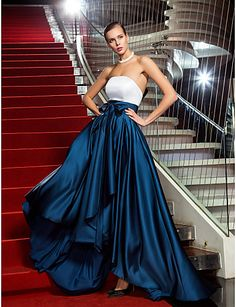 A-line Princess Strapless Asymmetrical Satin Evening Dress inspired by Marion Cotillard - USD $ 88.49