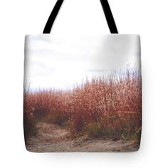 Tall grass and dirt trail tote bag.
