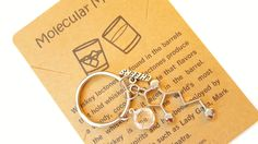 Whiskey Lactone Alcohol Molecule Science Chemistry Gift Keychain with Birthstone Charm by MolecularMotifs on Etsy