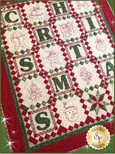 "C is for Christmas is a darling 39"" x 46"" Block of the Month quilt designed right here at Shabby Fabrics. Sign up today!"
