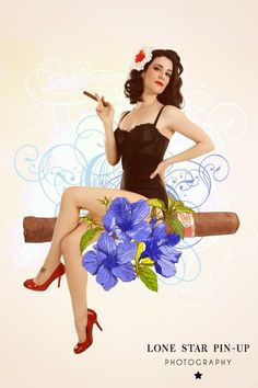 Cuban cigar pinup girl with flowers  Lone Star Pin-up