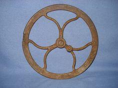 "12 1/2"" Old VTG Industrial Cast Iron Wheel Gear Pulley Steampunk Art Drill Press | eBay"