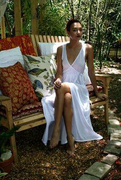 Silk Knit Bridal Nightgown Wedding Lingerie Sleepwear Honeymoon Beach Wrap Gown Cruise Lounge Summer Night Gown