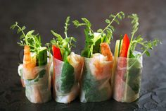 Image of 'vietnamese rice paper rolls with prawns and vegetables'