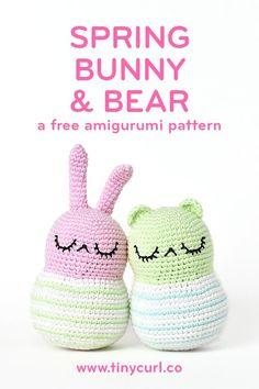 Spring Bunny and Bear   Amigurumi Pattern – Tiny Curl Crochet