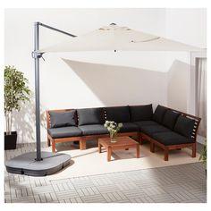 IKEA SEGLARÖ parasol, hanging The air vent reduces wind pressure and allows heat to circulate. Parasol Covers, Umbrella Cover, Offset Patio Umbrella, Parasol Base, Balkon Design, Ikea Family, 61 Kg, Concrete Slab, Beige