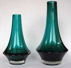 Art glass vases designed by Tamara Aladin for Riihimäki Lasi Oy, Finland. Turquoise glass cased in clear.