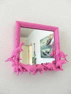 pink dinosaur mirror by CheeseCrafty on Etsy, $19.00