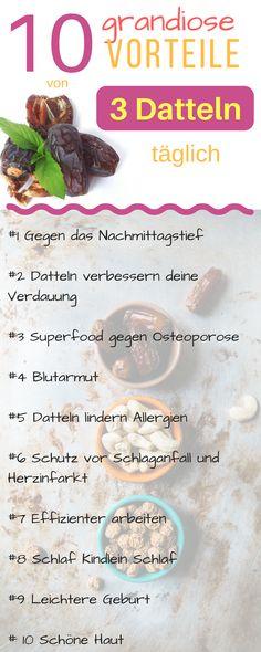Datteln sind ein Superfood. Nur 3 Datteln täglich und du kannst erstaunliche gesundheitliche Vorteile feststellen. Datteln Gesundheit, Datteln Abnehmen, Datteln Rezepte, Datteln Wirkung, Datteln backen, Datteln gesund, Datteln abnehmen, Datteln Schwangerschaft, Datteln Brustmilch, Datteln vegan, Datteln Pflanzen, getrocknete Datteln, Datteln Deko, Datteln Kekse, Datteln Energiebällchen #diät #datteln #superfood #diet #dieting #abnehmen