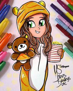 FacWear Photography - Random Tutorial and Ideas Kawaii Girl Drawings, Bff Drawings, Cartoon Girl Drawing, Pencil Art Drawings, Disney Drawings, Cartoon Art, Easy Drawings, Art Sketches, Unicornios Wallpaper