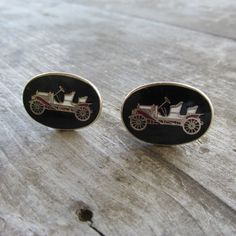 Fun Enamel Cuff Links With Antique Car Design  by DresdenCreations