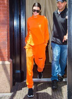 Model Kendall Jenner rocks orange sweatsuit in New York | Daily Mail Online