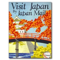 Visit Japan Vintage Travel Art Post Cards #postcards #Japan