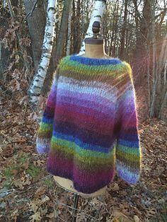 Two-Strand Stripe Pullover by Susan Mills | CEY La Gran | Aran-wt. held double | Free pattern