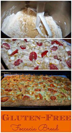 Gluten-Free Foccacia Bread with Tomatoes, Artichoke hearts and fresh Mozzarella. http://www.ifood.tv/recipe/gluten-free-focaccia-bread