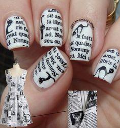 "Cat News Print Nail Design inspired by ""News Print Dress"""