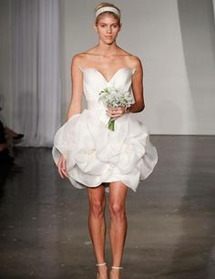 A short and sweet dress from Marchesa Fall 2013. More bridal gown inspiration here: http://www.elleuk.com/style/wedding-